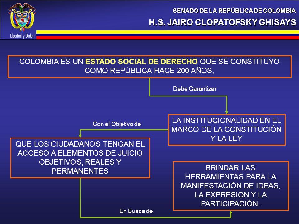 LA INSTITUCIONALIDAD EN EL MARCO DE LA CONSTITUCIÓN Y LA LEY
