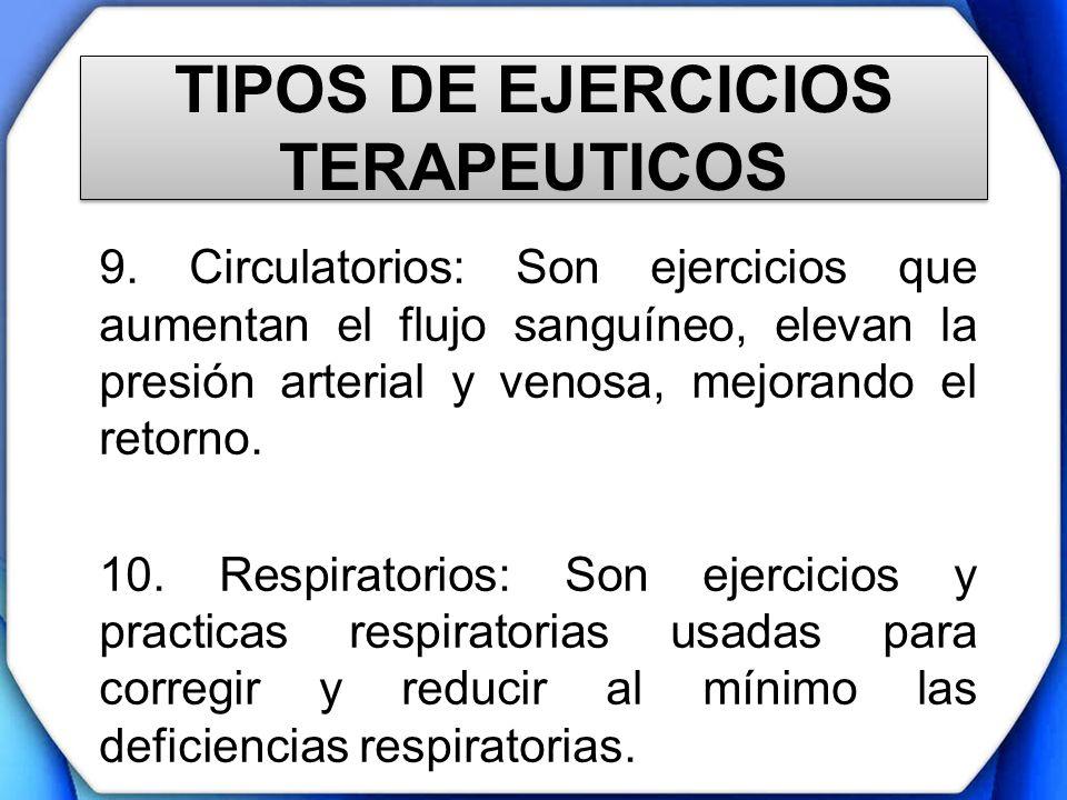 TIPOS DE EJERCICIOS TERAPEUTICOS