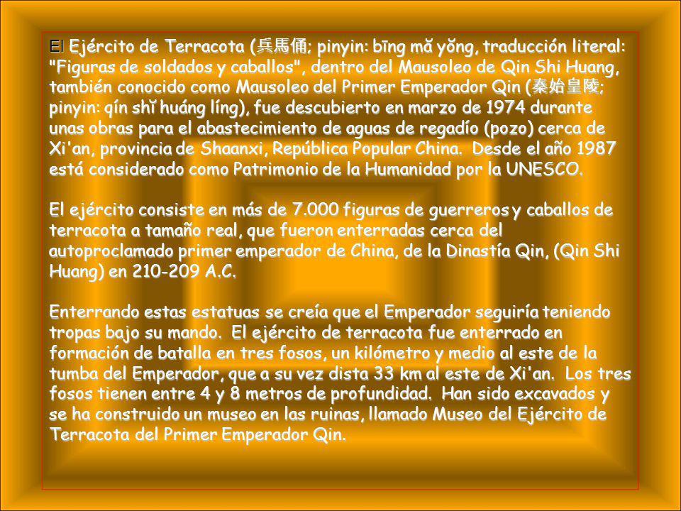 El Ejército de Terracota (兵馬俑; pinyin: bīng mă yŏng, traducción literal: Figuras de soldados y caballos , dentro del Mausoleo de Qin Shi Huang, también conocido como Mausoleo del Primer Emperador Qin (秦始皇陵; pinyin: qín shĭ huáng líng), fue descubierto en marzo de 1974 durante unas obras para el abastecimiento de aguas de regadío (pozo) cerca de Xi an, provincia de Shaanxi, República Popular China. Desde el año 1987 está considerado como Patrimonio de la Humanidad por la UNESCO.