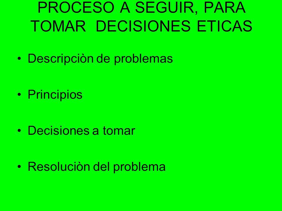 PROCESO A SEGUIR, PARA TOMAR DECISIONES ETICAS