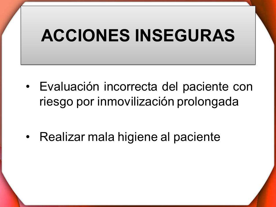 ACCIONES INSEGURAS Evaluación incorrecta del paciente con riesgo por inmovilización prolongada.