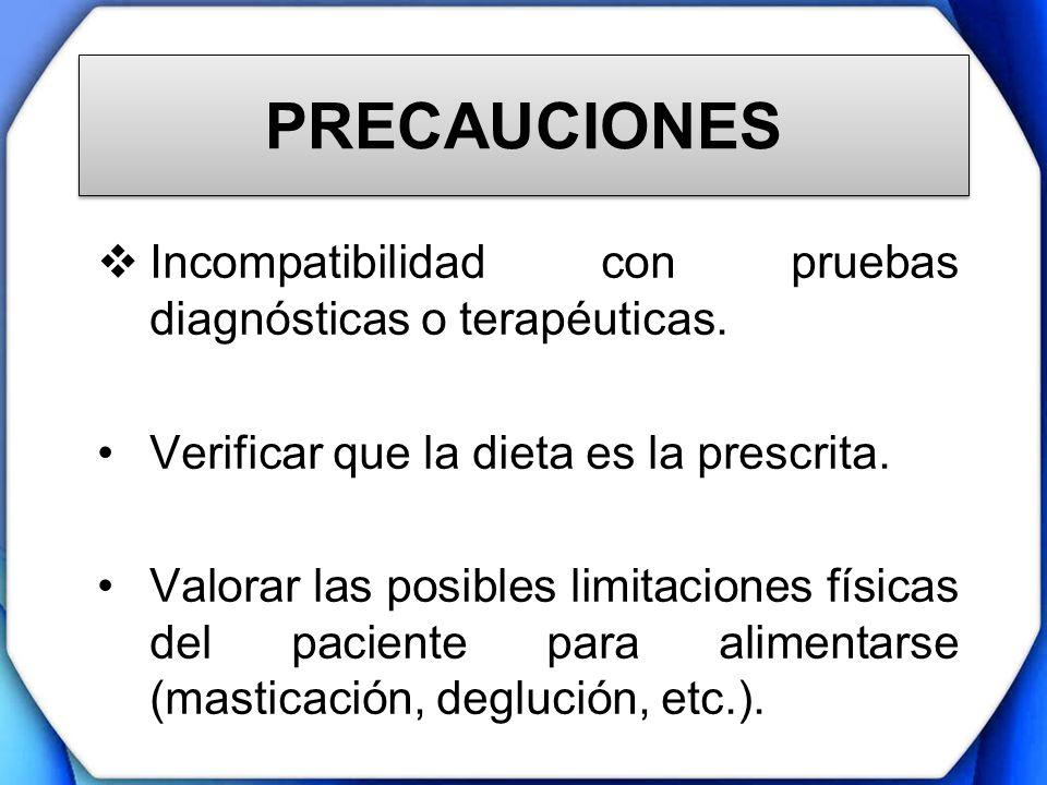 PRECAUCIONES Incompatibilidad con pruebas diagnósticas o terapéuticas.