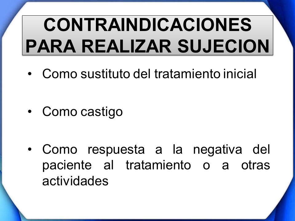 CONTRAINDICACIONES PARA REALIZAR SUJECION