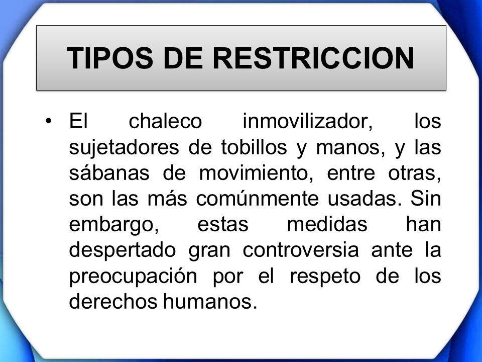 TIPOS DE RESTRICCION