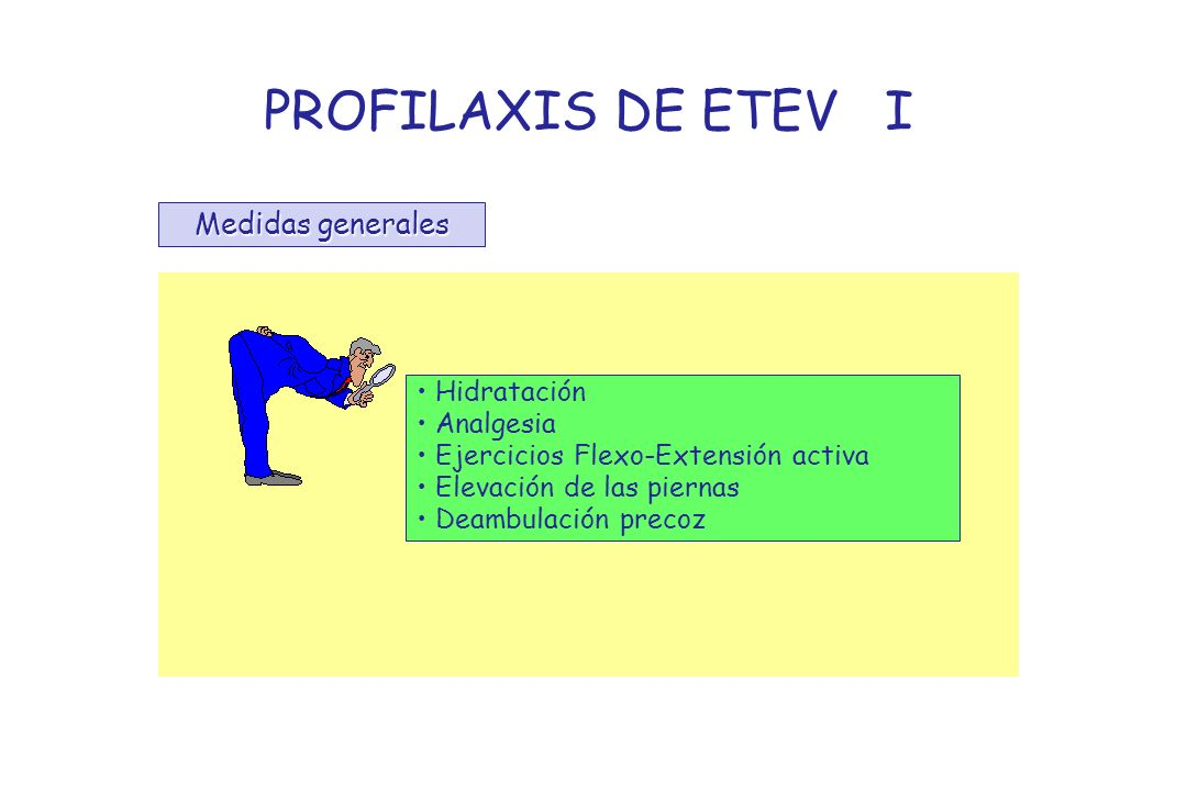 PROFILAXIS DE ETEV I Medidas generales Hidratación Analgesia