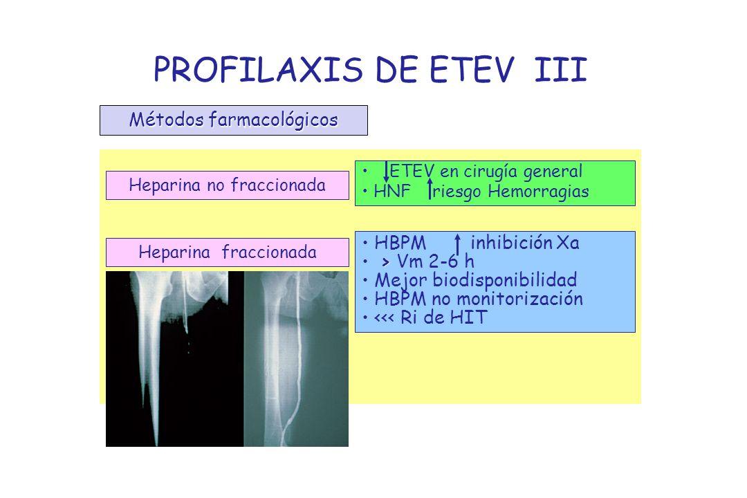 PROFILAXIS DE ETEV III Métodos farmacológicos HBPM inhibición Xa