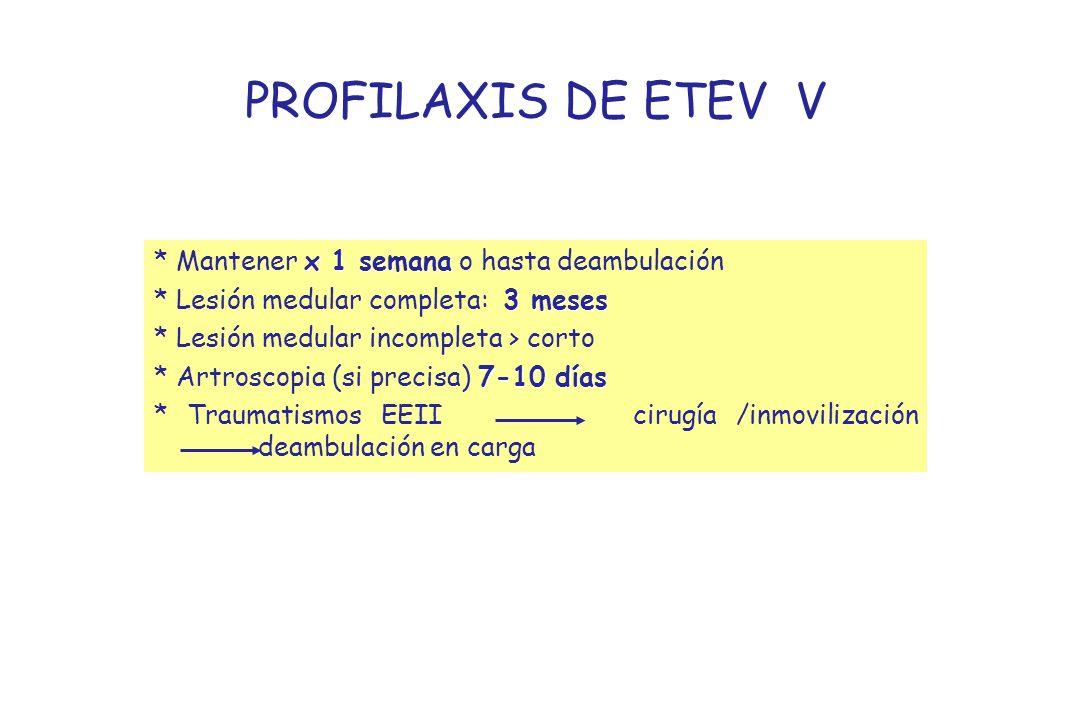 PROFILAXIS DE ETEV V * Mantener x 1 semana o hasta deambulación