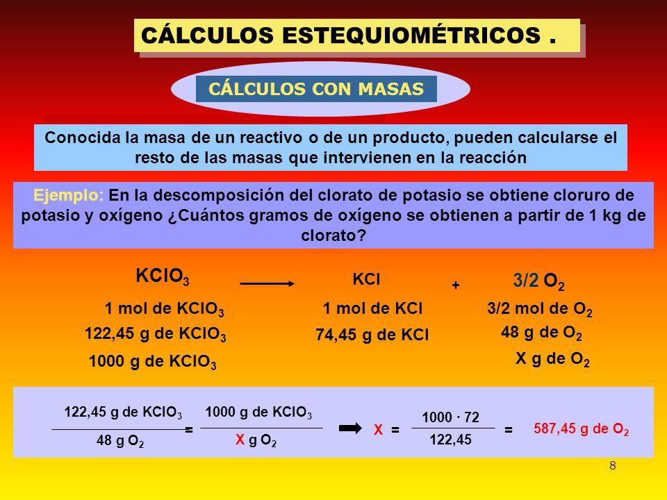 CÁLCULOS ESTEQUIOMÉTRICOS .