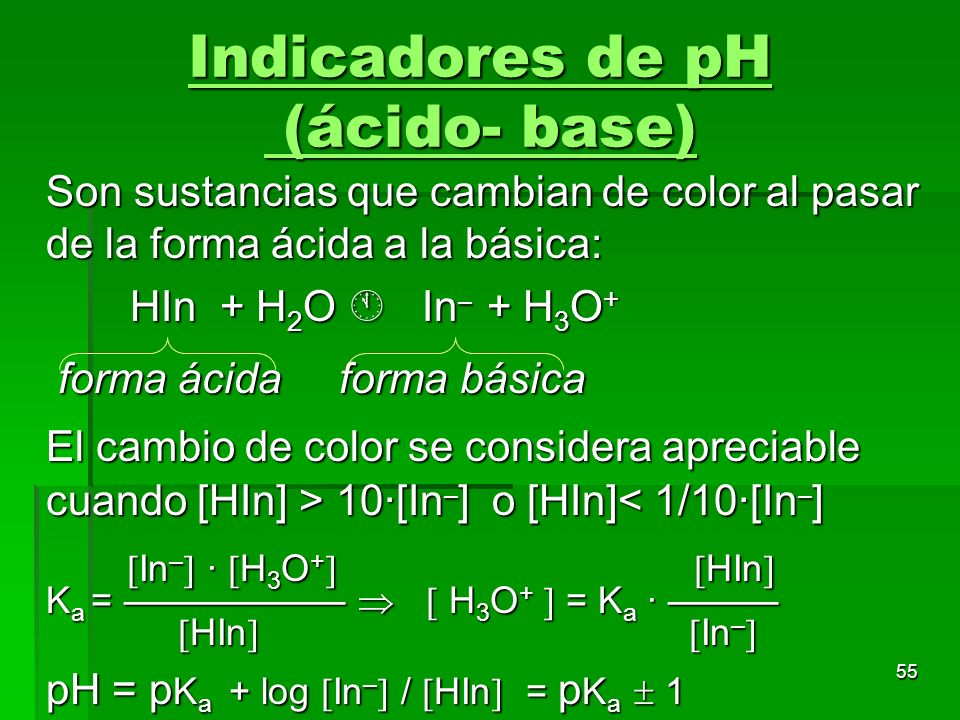 Indicadores de pH (ácido- base)