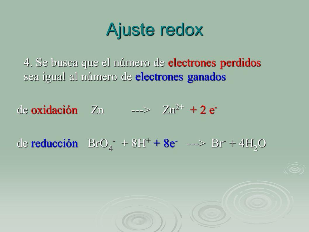Ajuste redox 4. Se busca que el número de electrones perdidos sea igual al número de electrones ganados.