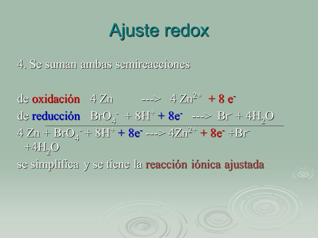 Ajuste redox 4. Se suman ambas semireacciones