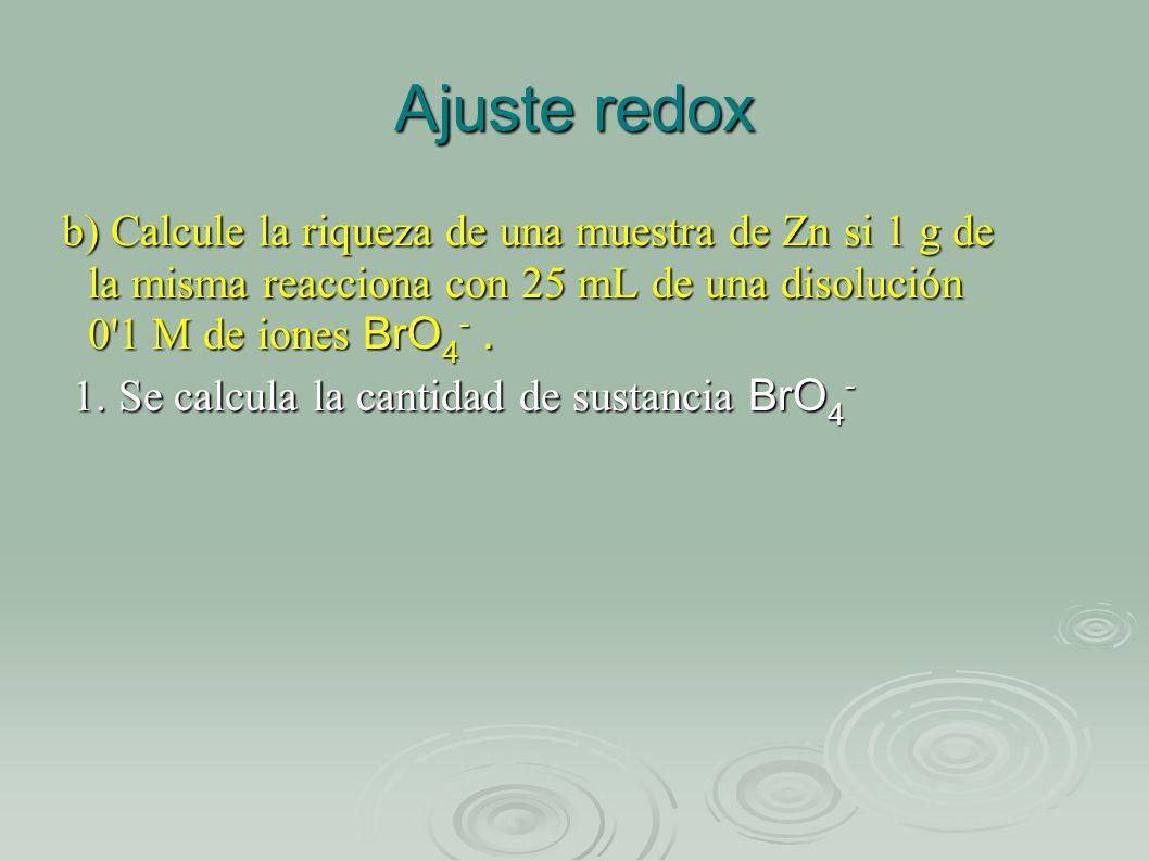 Ajuste redox b) Calcule la riqueza de una muestra de Zn si 1 g de la misma reacciona con 25 mL de una disolución 0 1 M de iones BrO4- .