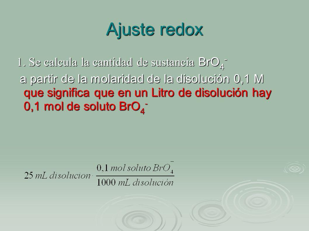 Ajuste redox 1. Se calcula la cantidad de sustancia BrO4-