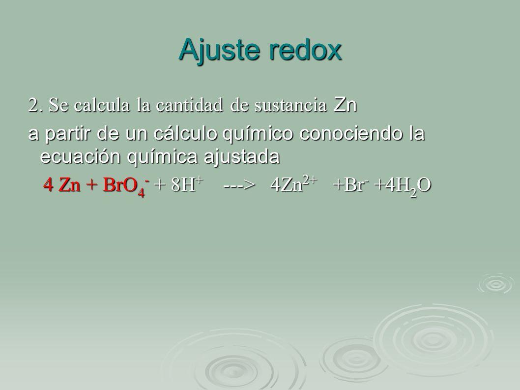 Ajuste redox 2. Se calcula la cantidad de sustancia Zn