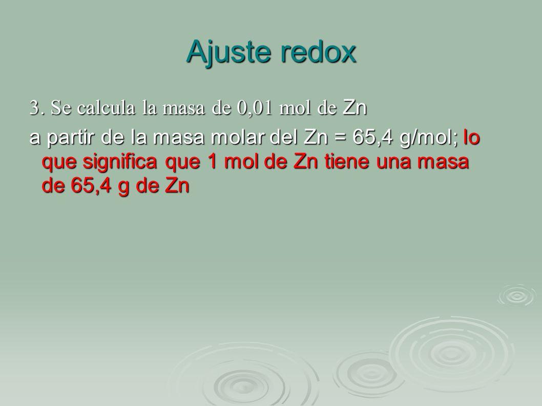 Ajuste redox 3. Se calcula la masa de 0,01 mol de Zn