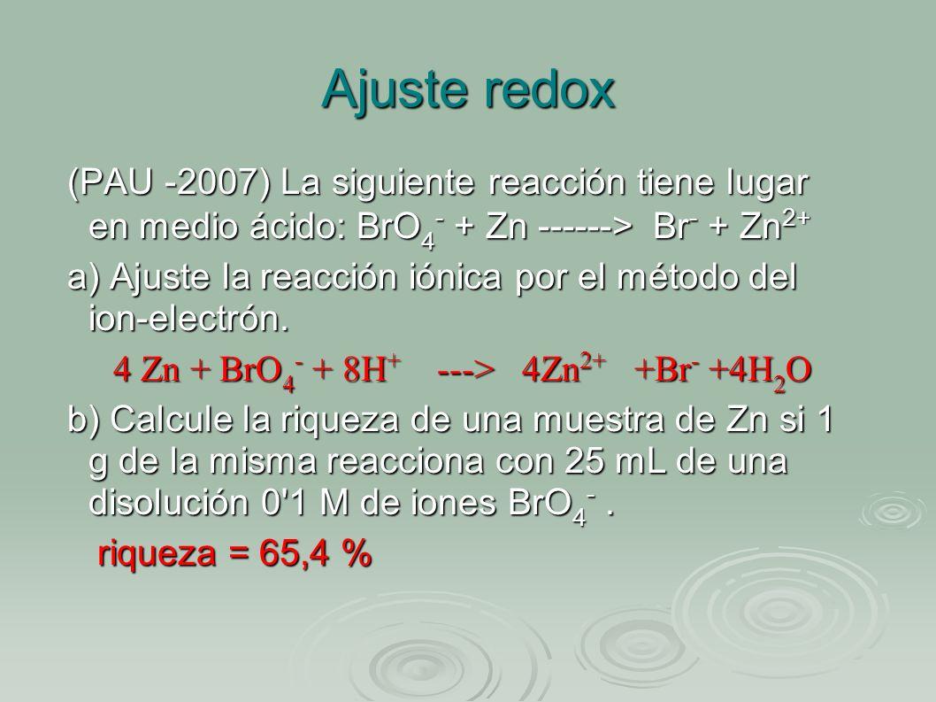 Ajuste redox (PAU -2007) La siguiente reacción tiene lugar en medio ácido: BrO4- + Zn ------> Br- + Zn2+