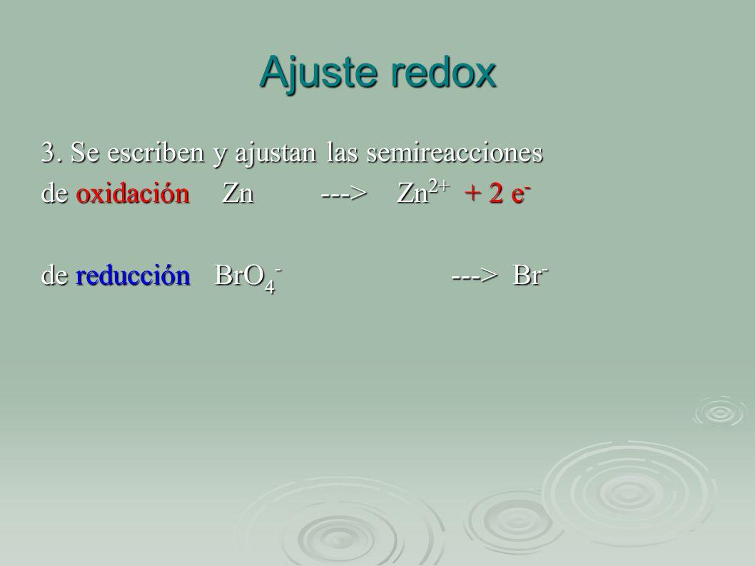 Ajuste redox 3. Se escriben y ajustan las semireacciones