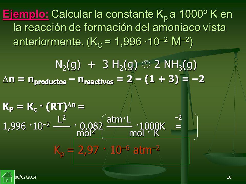 Ejemplo: Calcular la constante Kp a 1000º K en la reacción de formación del amoniaco vista anteriormente. (KC = 1,996 ·10–2 M–2)
