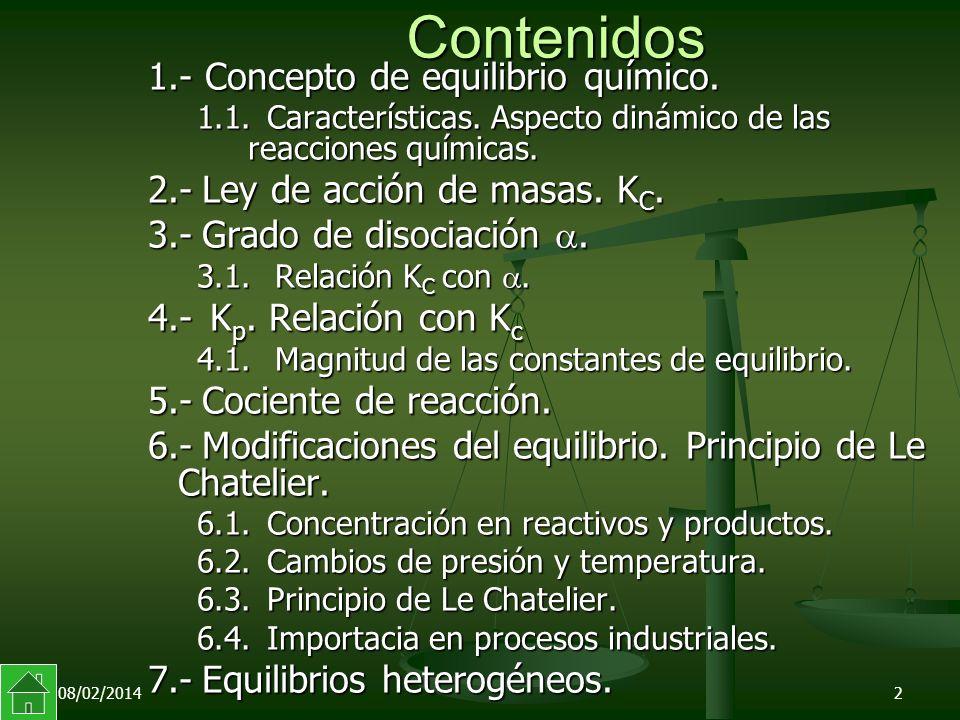Contenidos 1.- Concepto de equilibrio químico.