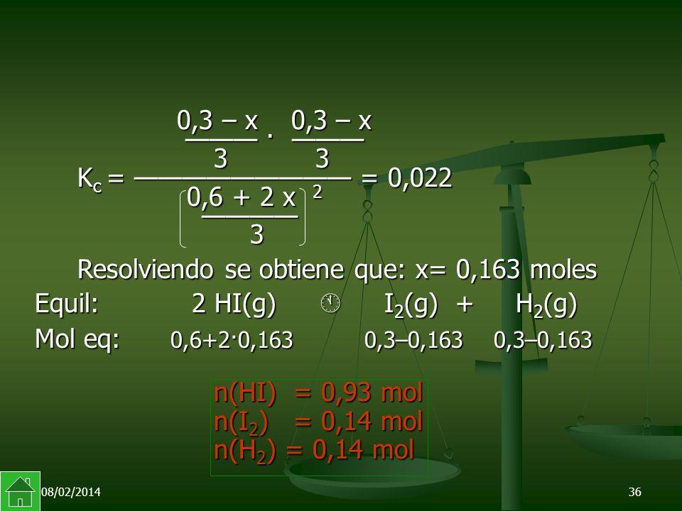 Resolviendo se obtiene que: x= 0,163 moles