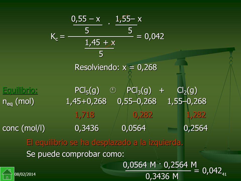 0,55 – x 1,55– x ———— · ——— 5 5 Kc = ————————— = 0,042 1,45 + x ———— 5