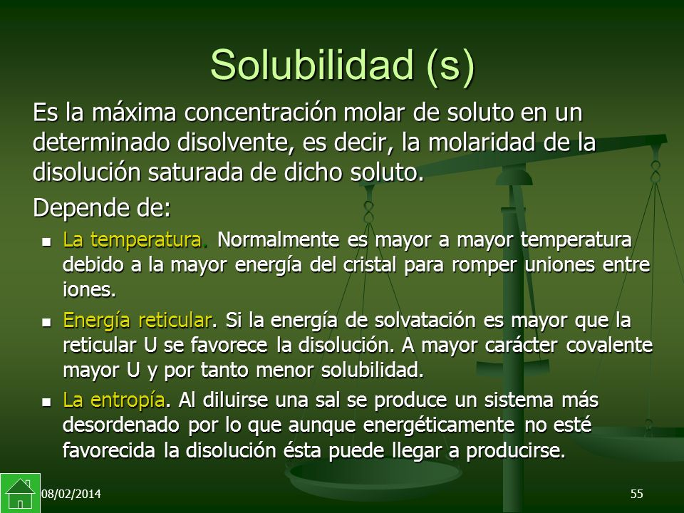 Solubilidad (s)