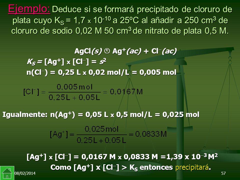 Ejemplo: Deduce si se formará precipitado de cloruro de plata cuyo KS = 1,7 x 10-10 a 25ºC al añadir a 250 cm3 de cloruro de sodio 0,02 M 50 cm3 de nitrato de plata 0,5 M.