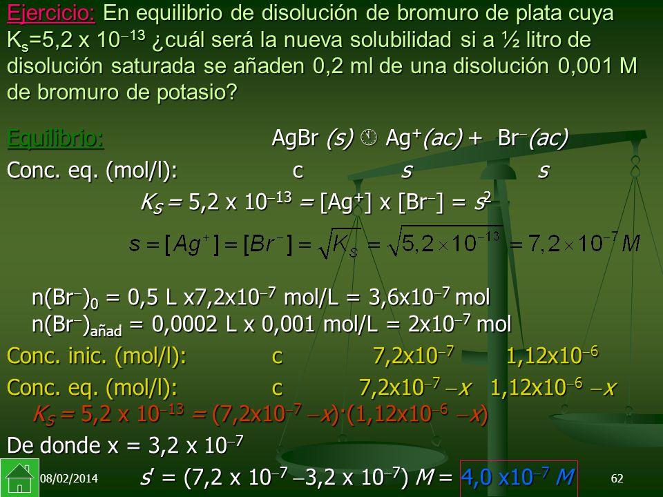 Equilibrio: AgBr (s)  Ag+(ac) + Br(ac) Conc. eq. (mol/l): c s s