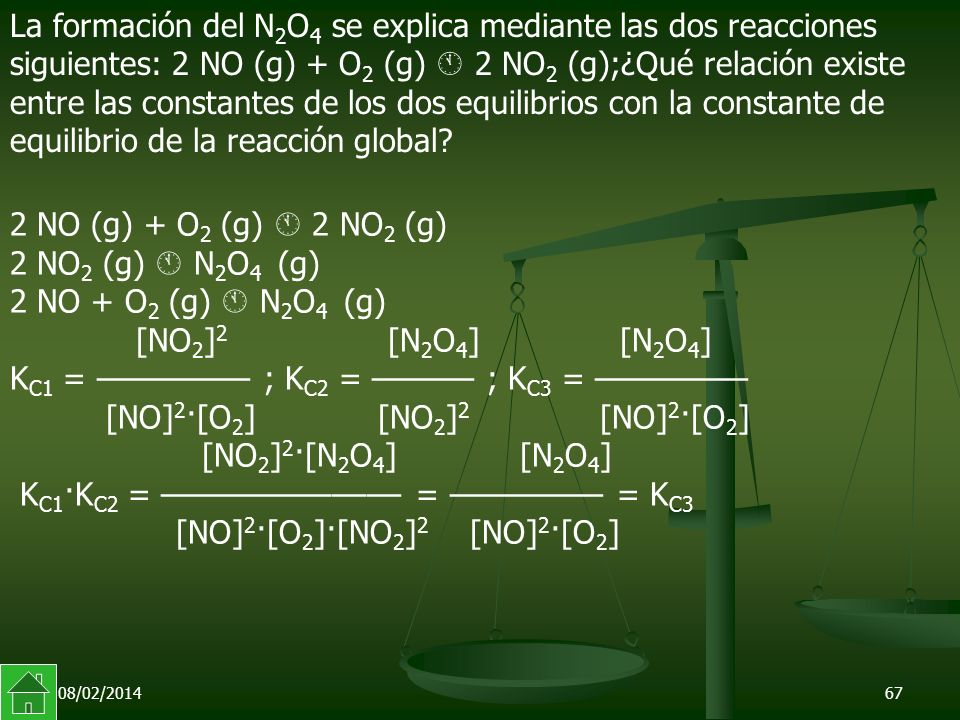 La formación del N2O4 se explica mediante las dos reacciones siguientes: 2 NO (g) + O2 (g)  2 NO2 (g);¿Qué relación existe entre las constantes de los dos equilibrios con la constante de equilibrio de la reacción global