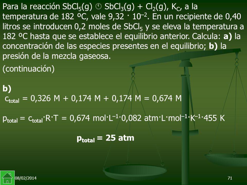 ptotal = ctotal·R·T = 0,674 mol·L–1·0,082 atm·L·mol–1·K–1·455 K
