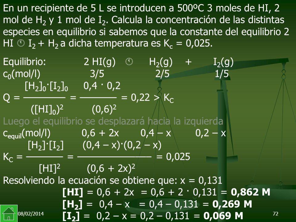 Equilibrio: 2 HI(g)  H2(g) + I2(g) c0(mol/l) 3/5 2/5 1/5