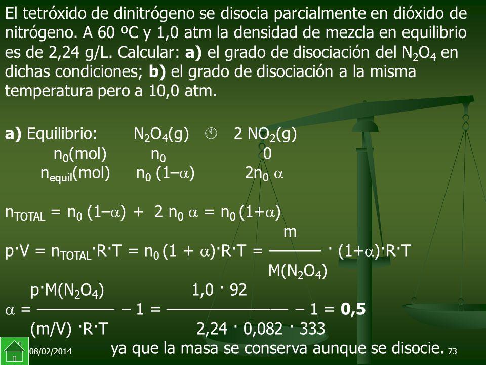 a) Equilibrio: N2O4(g)  2 NO2(g)