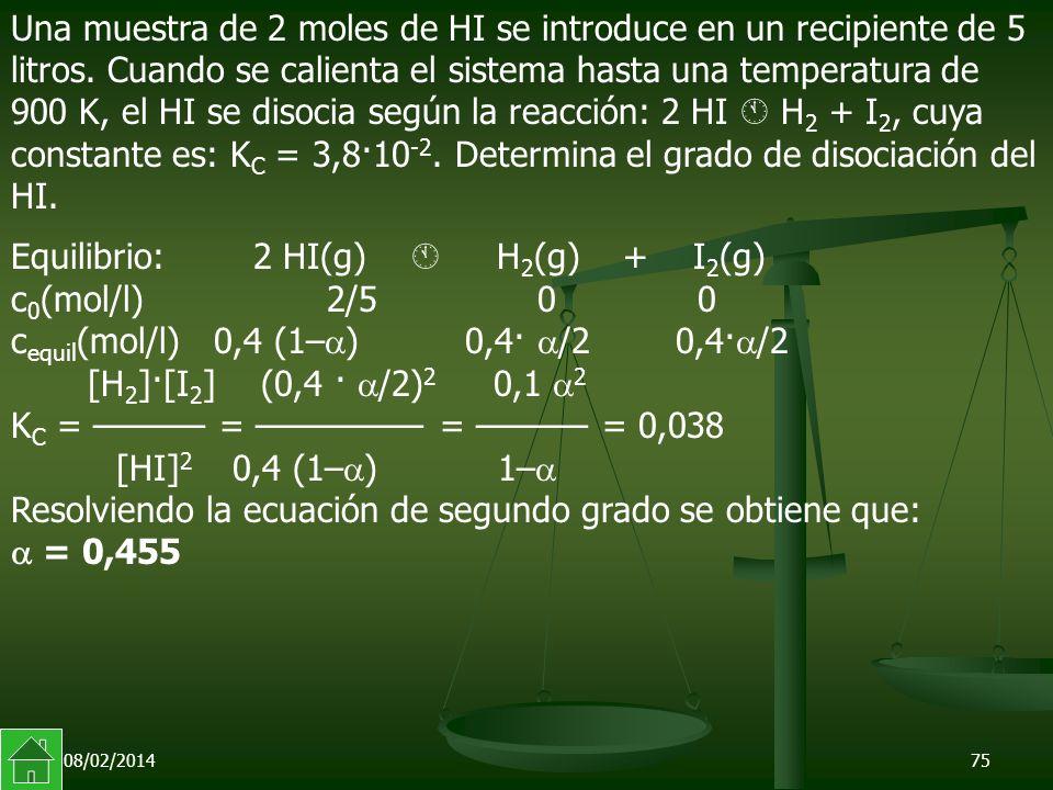 Equilibrio: 2 HI(g)  H2(g) + I2(g)