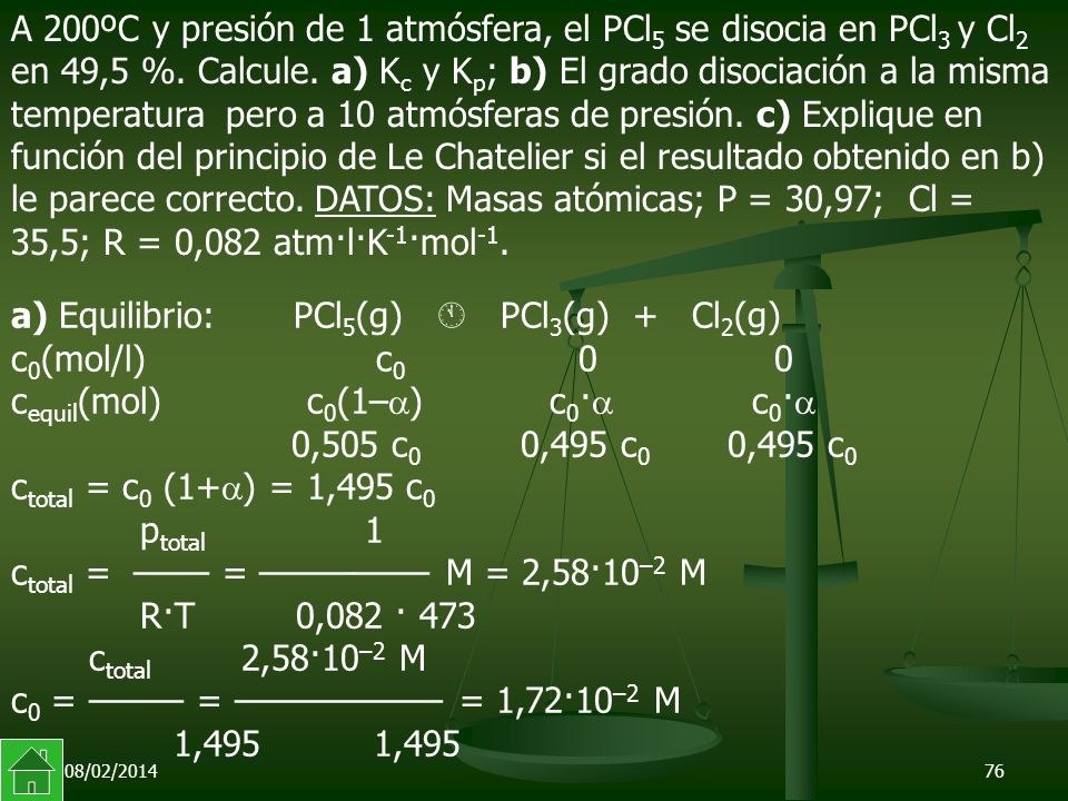 a) Equilibrio: PCl5(g)  PCl3(g) + Cl2(g) c0(mol/l) c0 0 0