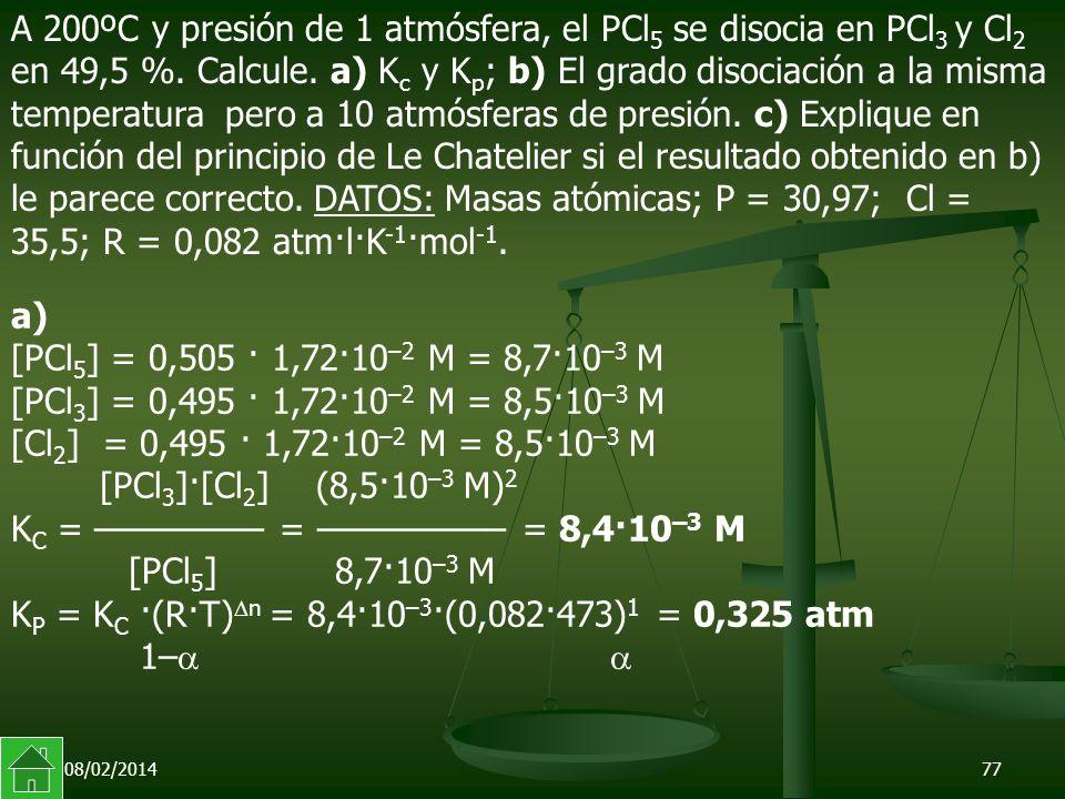 KP = KC ·(R·T)n = 8,4·10–3·(0,082·473)1 = 0,325 atm 1– 