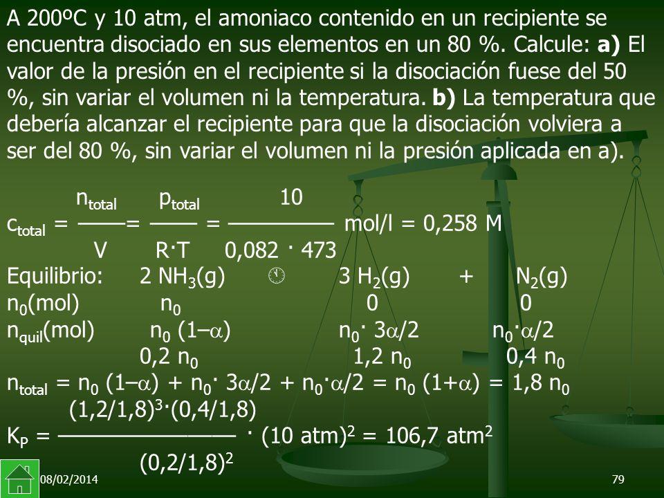 Equilibrio: 2 NH3(g)  3 H2(g) + N2(g)