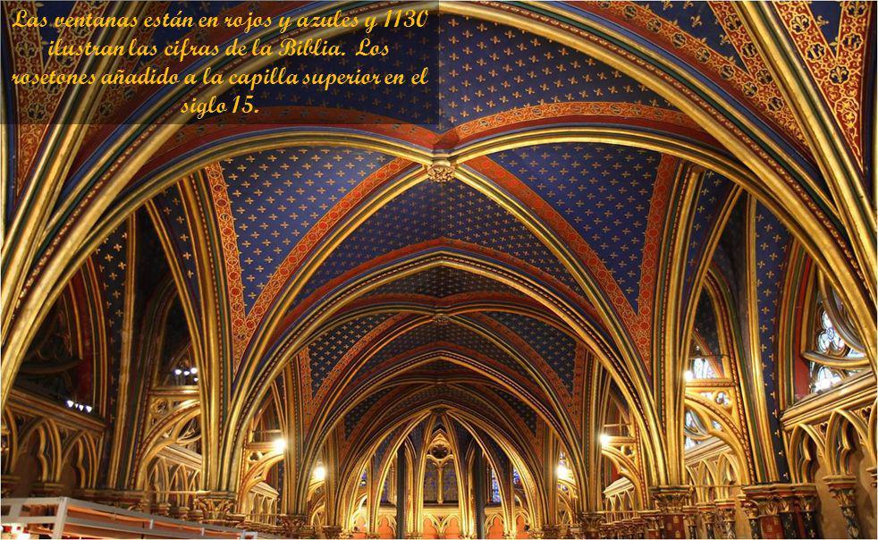 Las ventanas están en rojos y azules y 1130 ilustran las cifras de la Biblia.