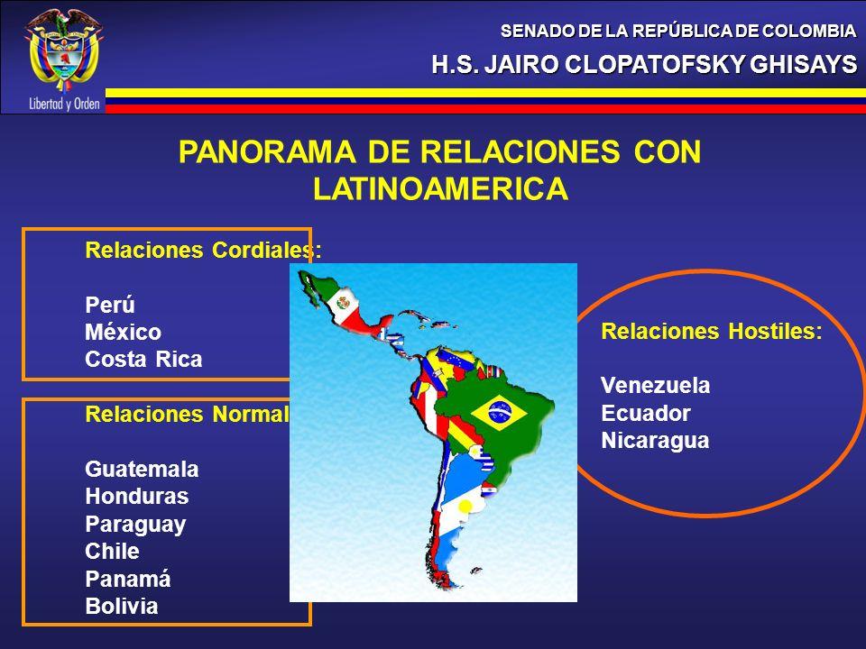 PANORAMA DE RELACIONES CON LATINOAMERICA