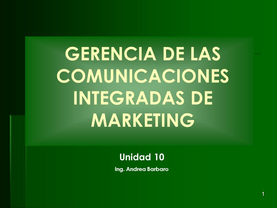 GERENCIA DE LAS COMUNICACIONES INTEGRADAS DE MARKETING