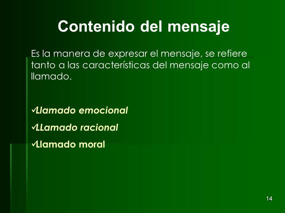 Contenido del mensaje Es la manera de expresar el mensaje, se refiere tanto a las características del mensaje como al llamado.