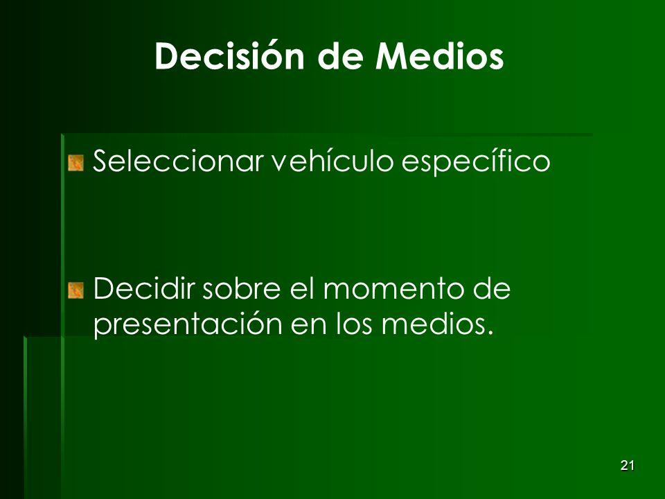 Decisión de Medios Seleccionar vehículo específico