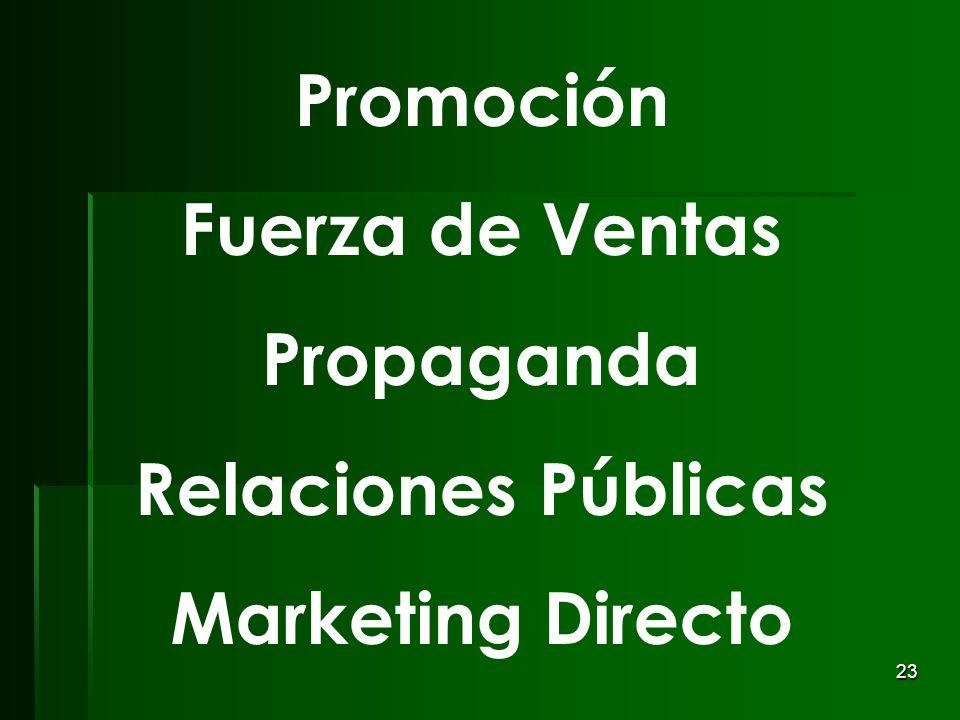 Promoción Fuerza de Ventas Propaganda Relaciones Públicas Marketing Directo