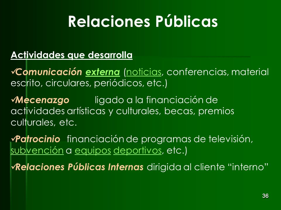 Relaciones Públicas Actividades que desarrolla