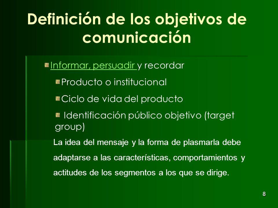 Definición de los objetivos de comunicación
