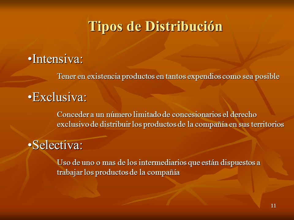 Tipos de Distribución Intensiva: Exclusiva: Selectiva:
