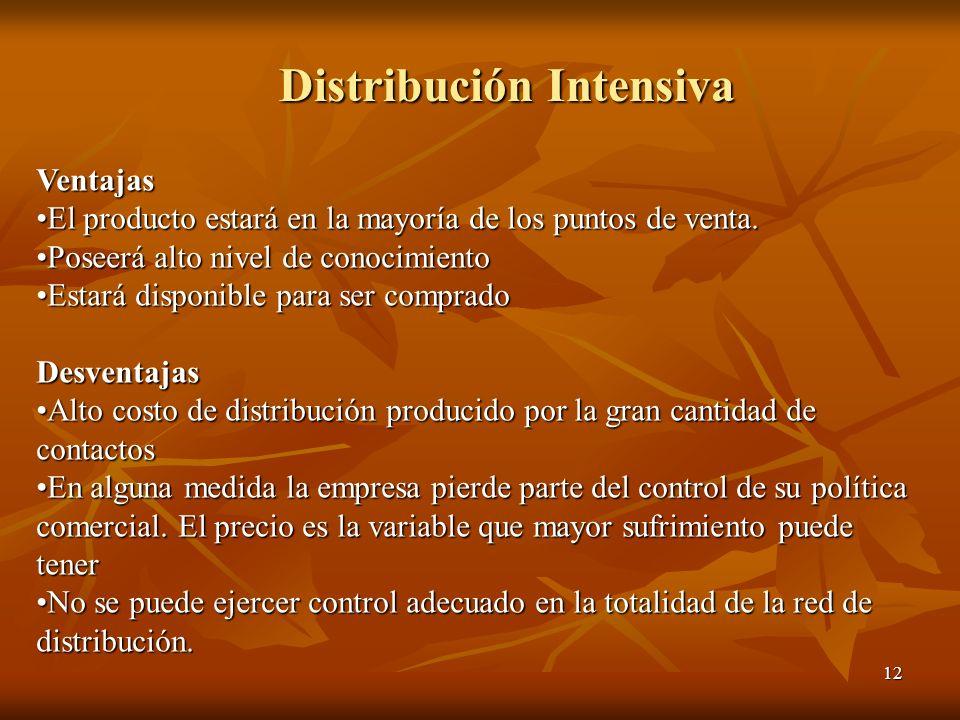 Distribución Intensiva