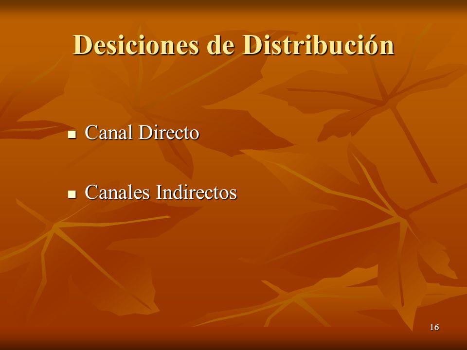Desiciones de Distribución