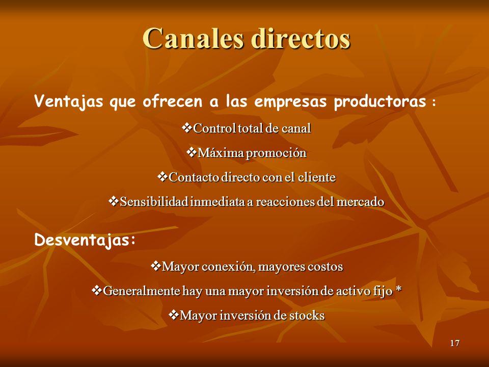 Canales directos Ventajas que ofrecen a las empresas productoras :