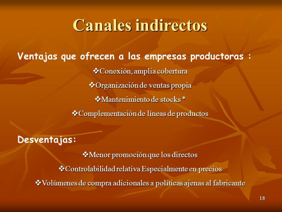 Canales indirectos Ventajas que ofrecen a las empresas productoras :