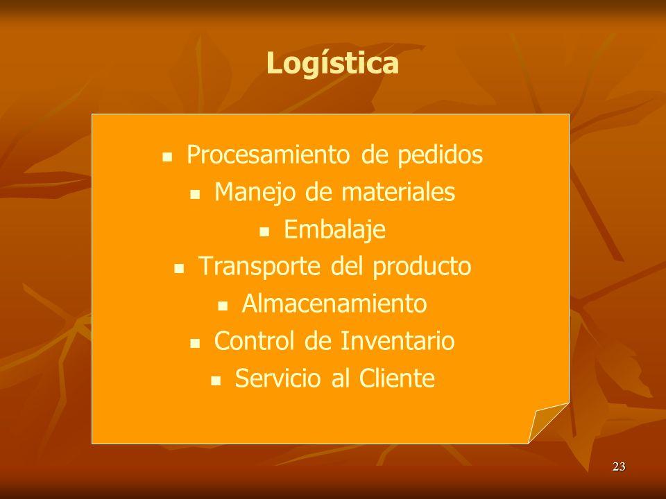Logística Procesamiento de pedidos Manejo de materiales Embalaje